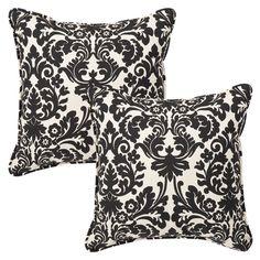 Pillow Perfect Outdoor/ Indoor Damask Black/ Off-white Floor Pillow (Indoor Essence Onyx Floor Pillow Floor Pillow) (Polyester), Outdoor Cushion Outdoor Cushions And Pillows, Buy Pillows, Black Cushions, Toss Pillows, Floor Pillows, White Damask, Outdoor Flooring, Perfect Pillow, Pillow Set