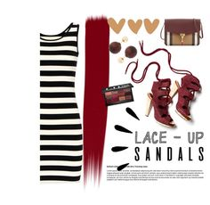 """""""Lace-up!"""" by janicevc on Polyvore featuring Derek Lam, Old Navy, Burberry, Kenneth Jay Lane, Bobbi Brown Cosmetics, contestentry, laceupsandals and PVStyleInsiderContest"""