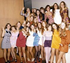 A group of high school girls wearing a variety of colorful mod styles in Life magazine photographer Arthur Schatz's 1969 photo-essay on high school fashion. Description from pinterest.com. I searched for this on bing.com/images