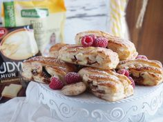 Ciastka francuskie z budyniem i suszonymi figami / Pastries with pudding and dried figs Dried Figs, Kefir, Graham, French Toast, Muffin, Pudding, Cookies, Baking, Breakfast