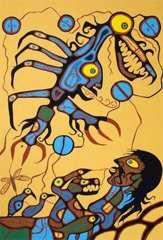 Norval Morrisseau, also called Copper Thunderbird kK Native American Artists, Canadian Artists, Kunst Der Aborigines, Ontario, Native Canadian, Woodland Art, Indigenous Art, Art Themes, Aboriginal Art