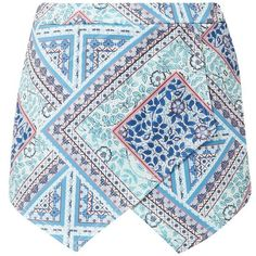 Parisian Blue Tile Print Wrap Skort ($12) ❤ liked on Polyvore featuring skirts, mini skirts, shorts, bottoms, skort, faldas, golf skirts, mini skort, blue mini skirt and wrap skort