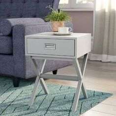 Canora Grey Side Table with Storage & Reviews   Wayfair.co.uk Grey Side Table, Side Table With Drawer, Metal Side Table, Chrome Handles, Metal Drawers, Table Height, Low Shelves, Stack Of Books, Table Legs