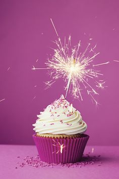 Birthday cupcake with a sparkler by RuthBlack. Birthday cupcake with a sparkler against a pink background Happy Birthday Wallpaper, Happy Birthday Images, Birthday Pictures, Happy Birthday Wishes, Birthday Greetings, 35th Birthday, Birthday Cupcakes, It's Your Birthday, Best Buttercream