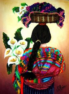 Esta técnica es de origen Guatemalteco, aunque yo la aprendí en El Salvador....  La mezcla de pintura y bordado, le dan a esto... Folk Embroidery, Ribbon Embroidery, Embroidery Patterns, Mexican Artwork, Mexican Folk Art, Bordado Popular, Hispanic Art, Latino Art, Mandala Design