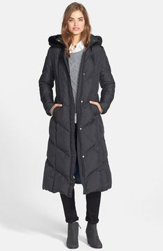 T Tahari 'Camy' Long Hooded Down Coat with Genuine Rabbit Fur Trim (Online Only) available at #Nordstrom