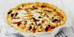 Painele sulanut taikina piirakkavuoan pohjalle ja reunoille.Viipaloi tomaatit ja sipulit. Hienonna aurinkokuivatut tomaatit. Lado tomaatti- ja sipuliviipaleet piirakkapohjalle. Murenna päälle vuohenjuusto ja lisää myös aurinkokuivatut tomaatit.Vatkaa kulhossa kananmunien rakenne rikki ja lisää joukkoon kermaviili sekä mausteet. Kaada seos täytteen päälle ja paista piirakkaa 200-asteisessa uunissa noin 40 minuuttia.Tarjoile raikkaan salaatin kera.