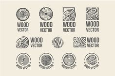 Set of wood rings texture logo - Objects