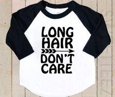 Long hair don't care funny boy raglan shirt