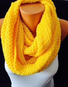 Knitted yellow scarf circle scarf  circle scarf by GCbazaar