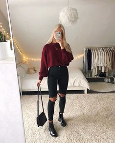 Trendy Fall Outfits, Casual Winter Outfits, Retro Outfits, Stylish Outfits, Simple Outfits, Teenage Outfits, Winter Fashion Outfits, Look Fashion, Outfits For Teens
