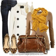 White coat, Mustard and Beige combination, Jeans, Leopard shoes, Brown bag - Casual Outfit Fashionista Trends, Komplette Outfits, Fall Outfits, Fashion Outfits, Looks Style, Style Me, Classic Style, Look Formal, Love Fashion