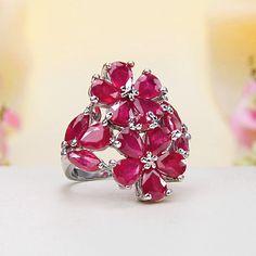 Sterling Silver Ruby Flower Ring