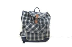 Vintage blue and green plaid Backpack purse by dirtybirdiesvintage