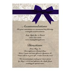 ShoppingCustom Navy & White Lace Accommodations/Directions Custom InvitationIn our offer link above you will see