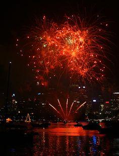Fireworks in Port Jackson, Sydney Harbour, Australia