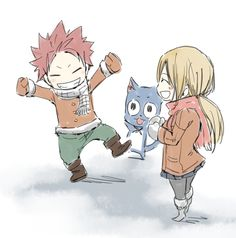 Natsu, Lucy, and Happy