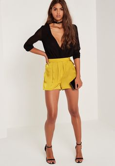 Missguided - Satin D-Ring Side Wrap Skort Yellow