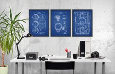 Basketball-Patent druckt 3er  Basketball Poster  Print
