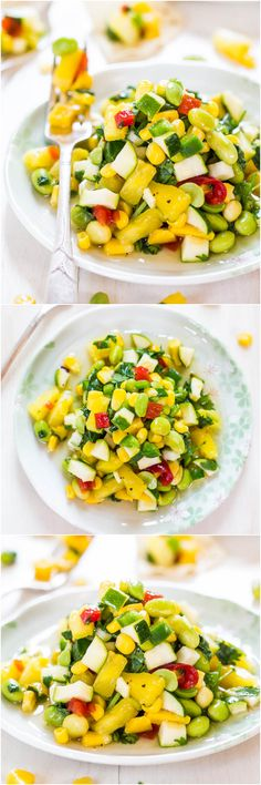 Sweet and Sour Zucchini Corn Salad - Packed with big, bold flavors and tons of crunch! Healthy, light and not just another salad!