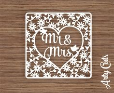 Mr and Mrs in Flower Lace Design PDF SVG Commercial Use