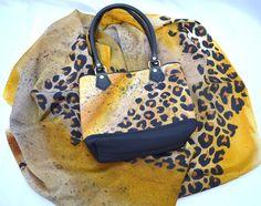 Matching set - Animal print. Hand painted silk scarf with handbag (leather handles).