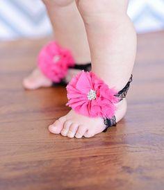 Barefoot Baby Sandals! Hot pink Ballerina chiffon flower w/ rhinestone, black elastic lace. Baby, Newborn, Infant child