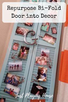 Repurpose old bi-fold door - DIY project - Home Decor - Display pictures