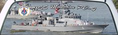 USS Monsoon PC-4 is a Navy patrol boat on a rear window graphic mural.
