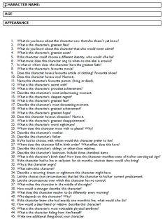 Answer all these questions and you should have a fully-developed character for…