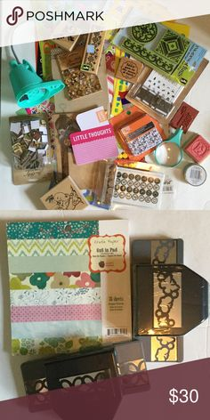 Scrapbook Crafting Grab Box What's included.... Stickers, stamps, embellishments, wash I tape, journaling cards, 6x6 paper pad, paper punch, mini ottlight Other