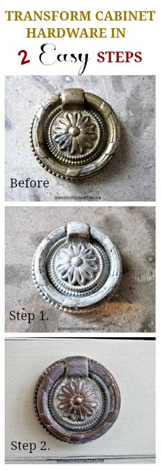 DIY hardware makeover - coat with chalk paint then use rub & buff stain. Coat with modge podge...yippee!