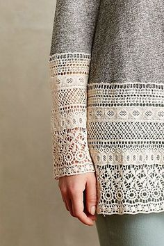 Lengthen sleeves or shirt with lace - Recessed Lace Sweatshirt anthropologie