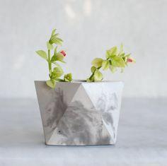 Small Marble Planter Concrete Geometric Planter by FactoLab - $16.55