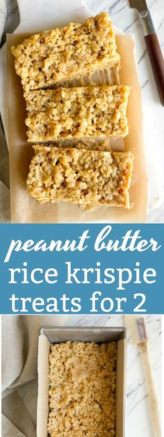 Peanut butter rice krispie treats for two. Small batch rice krispie treats made in a bread loaf pan. Peanut butter desserts that are perfect for an after school snack for kids. @DessertForTwo via @dessertfortwo