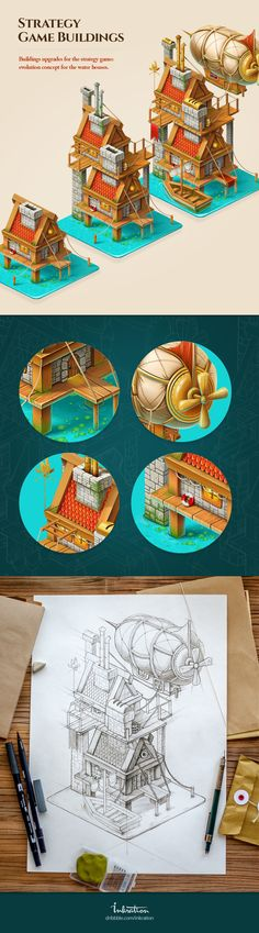 Buildings upgrades for the strategy game: evolution concept for the water houses.