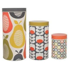 Adorn your kitchen in seventies inspired chic with this set of three Pear canisters from Orla Kiely. Made from tin, these three different sized canisters features the iconic Pear, Multi Flower & Tu. Storage Canisters, Kitchen Canisters, Jar Storage, Kitchen Storage, Food Storage, Storage Ideas, Orla Kiely, Graphic Patterns, Print Patterns