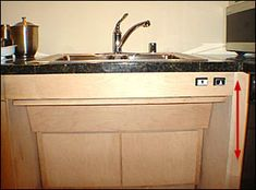 Universal Kitchen Sink.  Height Adjustable Electric Kitchen Sink - Accessible Design.  Raise and lower at the touch of a button to accommodate a wheelchair.