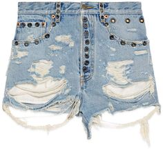 Shredded bleached denim shorts -this is an affiliate link! Denim Shorts Style, Ripped Jean Shorts, Distressed Denim Shorts, Denim Outfit, Bleached Jeans, Eyelet Shorts, Lady, Womens Fashion, Fashion Trends