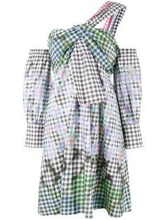 PETER PILOTTO One-Shoulder Diamond Print Gingham Dress. #peterpilotto #cloth #dress