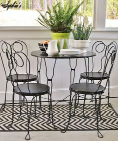 I love those cute little antique ice cream parlor table and chair sets.they're  very versatile and perfect for a small breakfast area or out on the porch  for ...