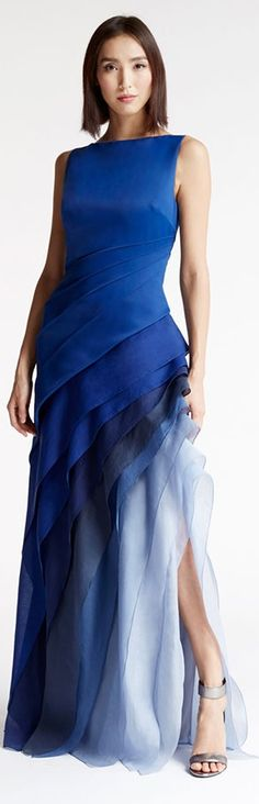 Halston Heritage OMBRE VOILE SATIN GOWN women fashion outfit clothing style apparel @roressclothes closet ideas