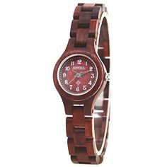 BEWELl Wooden Watch Women Fashion Quartz Movement Analog Casual Wrist Watches Red 123A – Wooden Watches Store