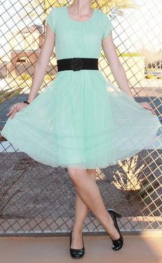Mint tulle dress (from DownEast Basics) with black accessories.