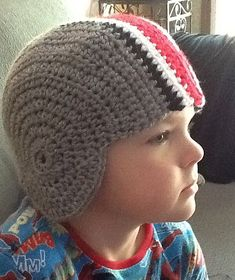 OSU football helmet hat -- I absolutely think I could make this! Crochet Beanie Hat, Crochet Cap, Free Crochet, Knitted Hats, Crochet Hats For Boys, Crochet Baby Hats, Crochet Scarves, Crochet Crafts, Crochet Projects