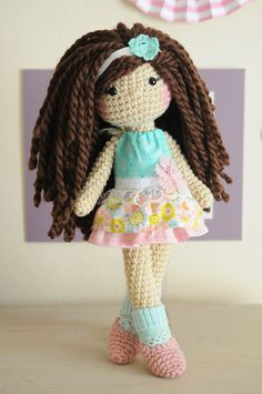 14 Crochet doll with brown curly hair wool yarn. by LinaMarieDolls ♡
