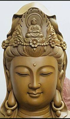 Guanyin, Goddess of Mercy and Compassion Buddha Tattoos, Buddhist Symbols, Buddhist Art, Buddha Sculpture, Statue Of Buddha, Buddha Kunst, Asian Sculptures, Amitabha Buddha, Buddha Face