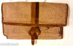 Vintage French Company Travel Bag, Garment Bag, Canvas & Leather.  $131.75