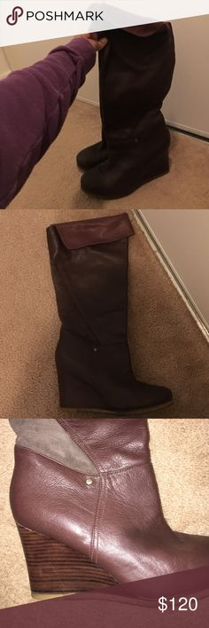 Ugg Australia Ravenna Leather wedge boots Gorgeous plush leather burgundy colored wedge boots by Ugg Australia in size 11. Top folds over so you can wear the boots to above the knees or fold them or just slouch them. Great with jeans and dress or tights. I wore these twice and they are just too big for me. I'm a size 10.5 so these should fit a size 11 perfectly. UGG Shoes Winter & Rain Boots