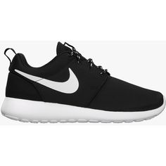 Nike Womens Roshe Run - Black/White/Volt ($77) ❤ liked on Polyvore featuring shoes, sneakers, nike, trainers, light weight shoes, white and black shoes, nike shoes and black and white shoes